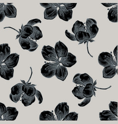 seamless pattern with hand drawn stylized sakura vector image