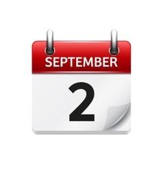 September 2 flat daily calendar icon vector