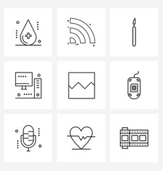 set 9 line icon signs and symbols photos vector image
