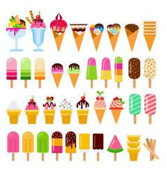 set ice-cream on a stick in waffle cones and vector image