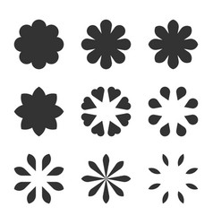 Set of black flower design symbols flowers vector