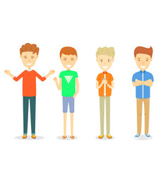 Set of men character standing in casual ware vector