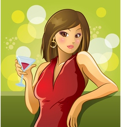 Sexy woman drinking wine vector