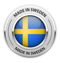 Silver medal Made in Sweden with flag vector image