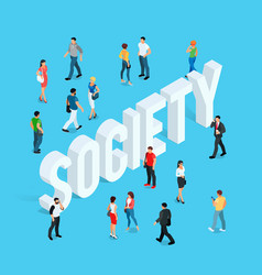 society isometric social concept vector image