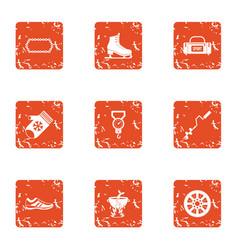 Sport fishing icons set grunge style vector