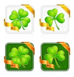 square clover button vector image