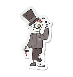 Sticker of a cartoon posh zombie vector