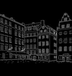 stockholm stortorget square black outline hand vector image