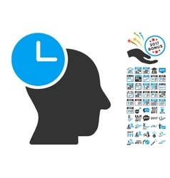 Time Thinking Icon With 2017 Year Bonus Pictograms vector