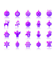 tree decorations simple gradient icons set vector image