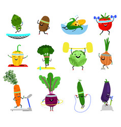 vegetables sports characters funny wellness vector image
