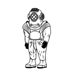 Vintage diver costume isolated on white vector