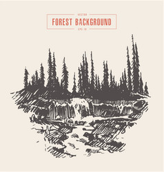 Vintage river waterfall fir forest drawn sketch vector