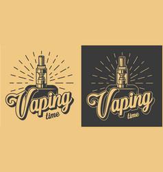 vintage vape monochrome emblems vector image