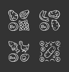 Vitamins chalk icons set b5 b6 b12 natural food vector
