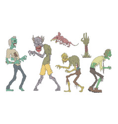 Walking zombies set undead people and animals vector