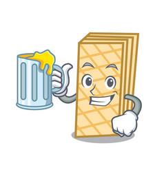 With juice waffle mascot cartoon style vector
