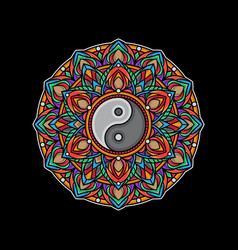 yin yang mandala color design vector image