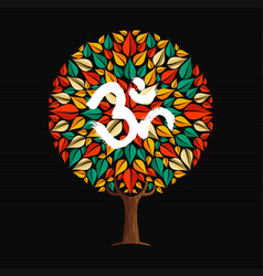 Yoga tree concept with om calligraphy symbol vector