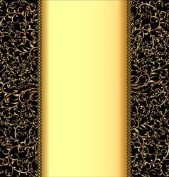 background with gold ornaments and strip for vector image vector image