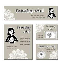 Black-white cards template for embroidery vector