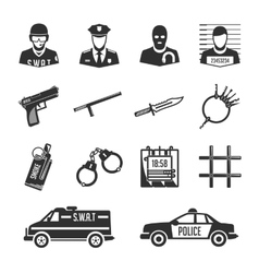 Icons police and thieves vector image vector image