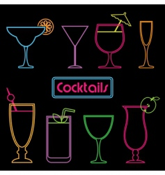 neon cocktail signs vector image