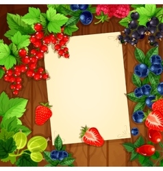 Berries recipe or message note blank form vector image