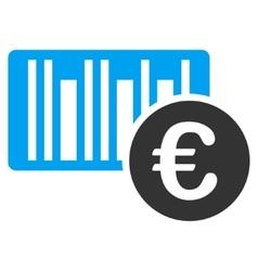 Euro Bar Code Price Flat Icon vector image