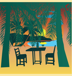 Tropical beach at sunset sunset view poster vector