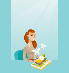 Young woman holding tablet computer above the book vector