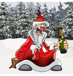 cartoon drunk Santa Claus with a bottle vector image vector image