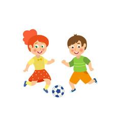 flat boy girl character playing football vector image vector image