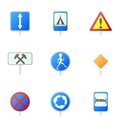 Sign warning icons set cartoon style vector image