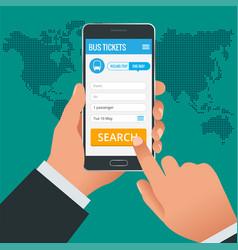 bus tickets booking online app phone concept book vector image vector image