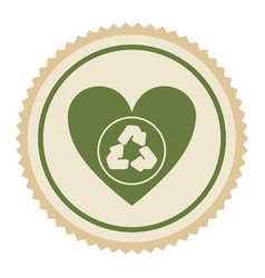 emblem green heart with ecolgy symbol vector image vector image