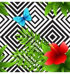 hibiscus and palm leaves tropical pattern vector image