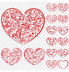Set of red hearts made of curls vector image vector image