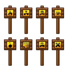 Wooden warning signs vector image