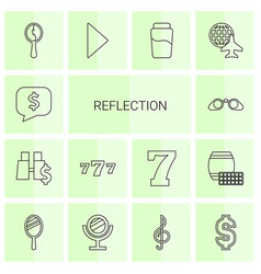 14 reflection icons vector