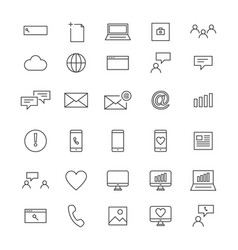 30 line social icons vector image