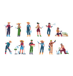 Agricultural workers cartoon farmers and vector