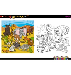 animals group for coloring vector image