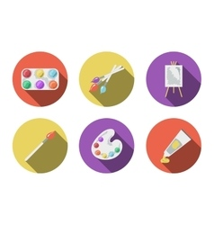 Art flat icons with long shadow set vector image