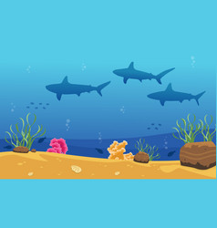 beauty ocean landscape with shark vector image