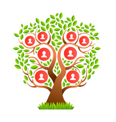 Big family tree template with people icons vector