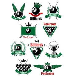 Billiards sport game heraldic icons vector image