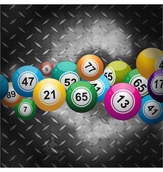 Bingo balls over metallic diamond plate vector image