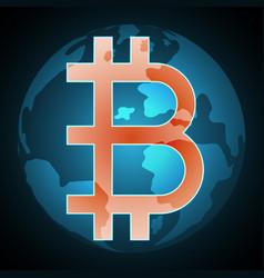 bitcoin symbol with globe vector image